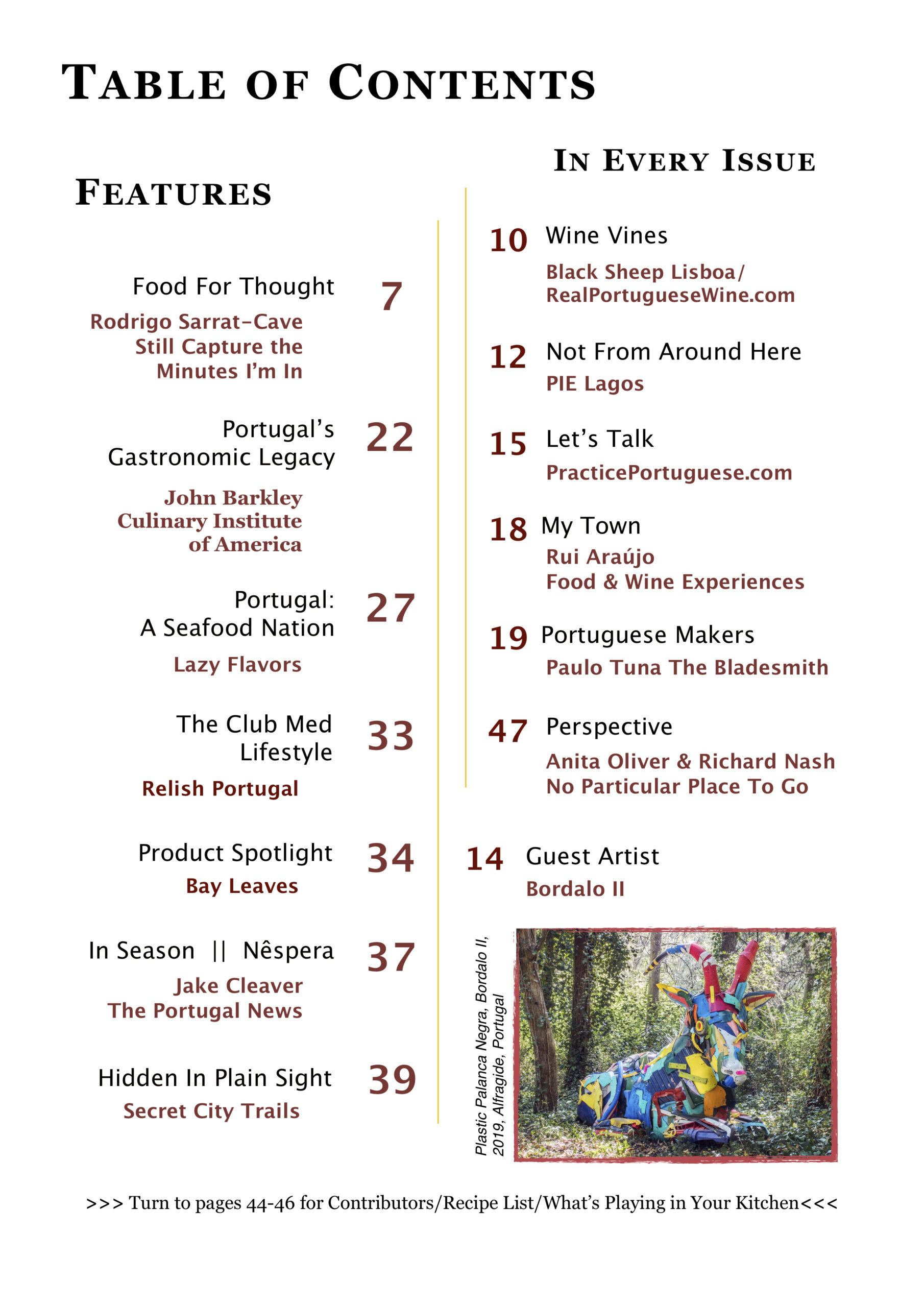 Relish Portugal Apr May Jun 2021 Table of Contents