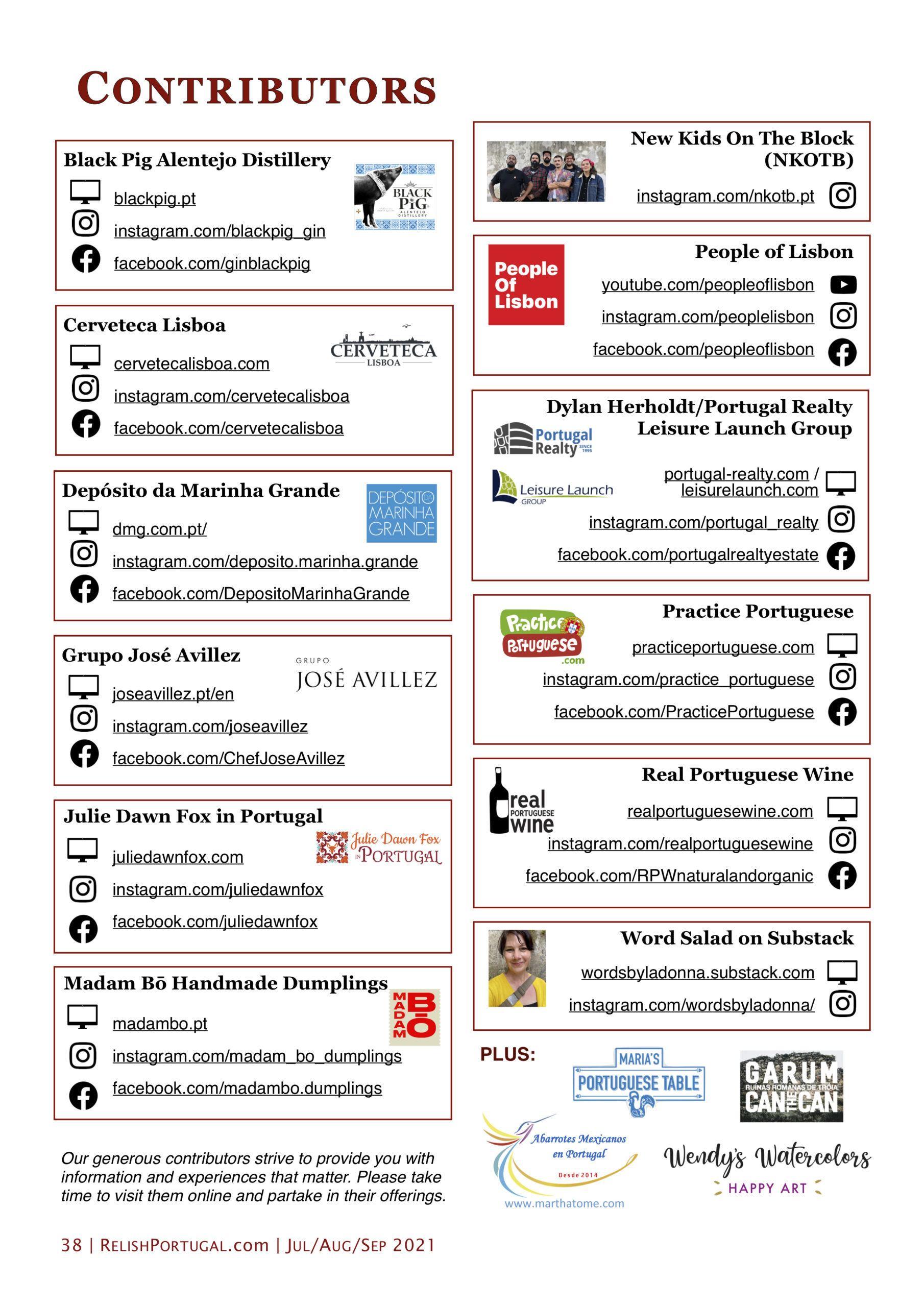 Relish Portugal Jul/Aug/Sep 2021 Contributors