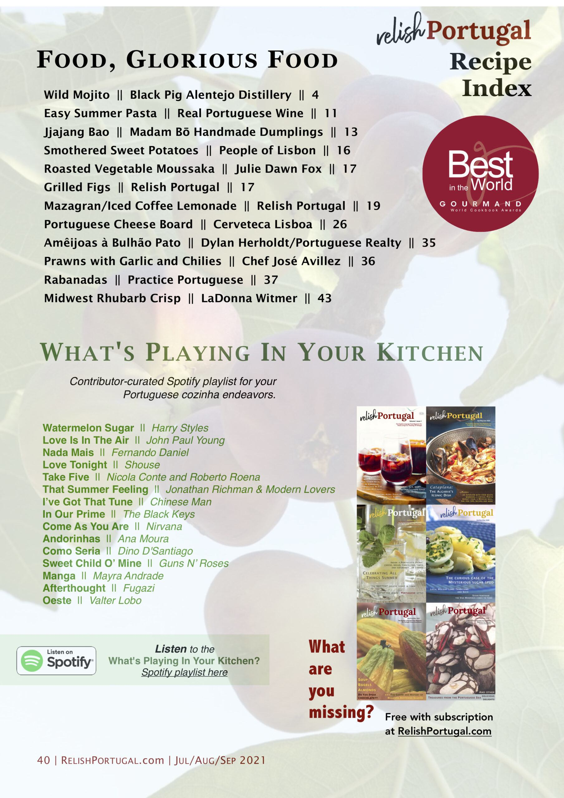 Relish Portugal Jul/Aug/Sep 2021 Recipes and Songs